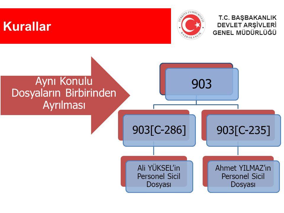 Kurallar 903 Aynı Konulu Dosyaların Birbirinden Ayrılması 903[C-286]